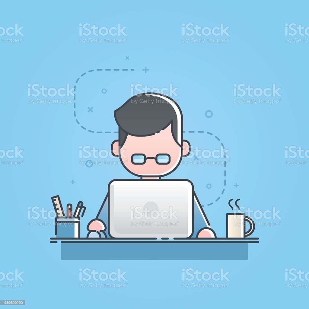 Young man sitting and working on laptop computer, work office. vector art illustration