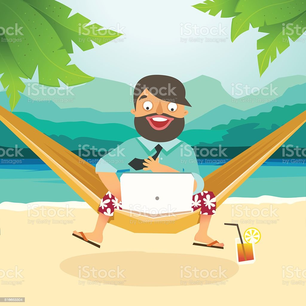 Young man sitting in hammock on the beach and working vector art illustration