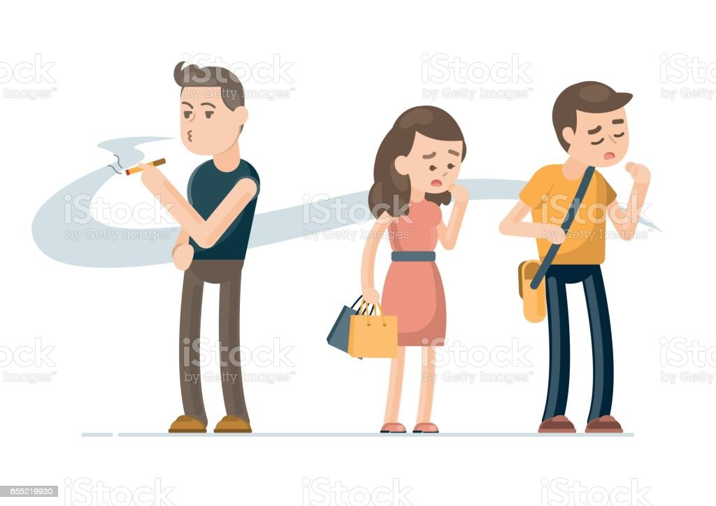 Young man smoking cigarette and people covering face from cigarette smoke, Passive smoking concept. Vector character illustration. vector art illustration