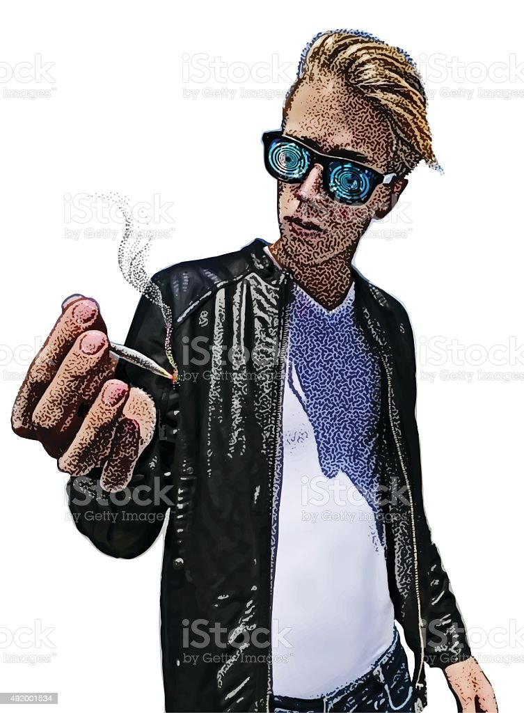 Young Man Smoking Marijuana and Getting High vector art illustration