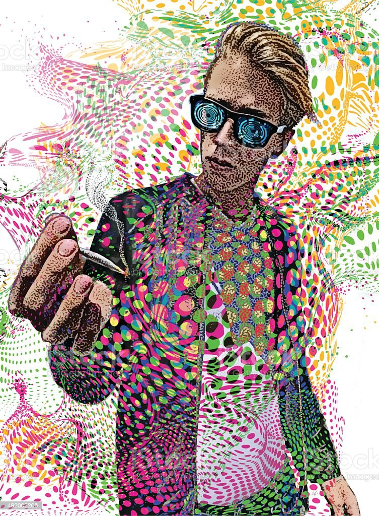 Young Man Smoking Marijuana and Psychedelic Background vector art illustration
