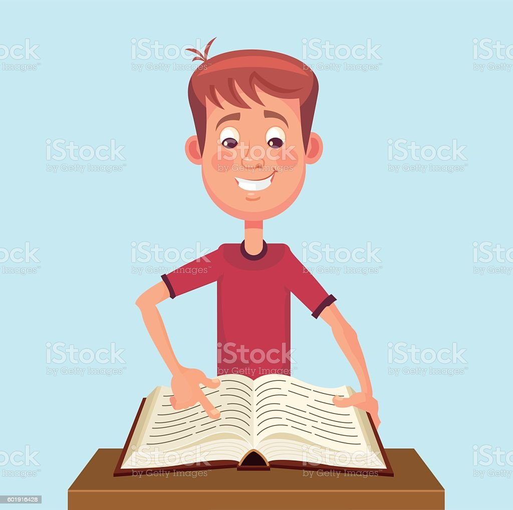 Young man student character read book vector art illustration