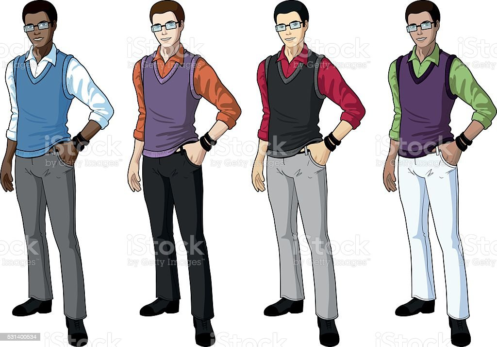 Young man student in casual formal wear vector art illustration