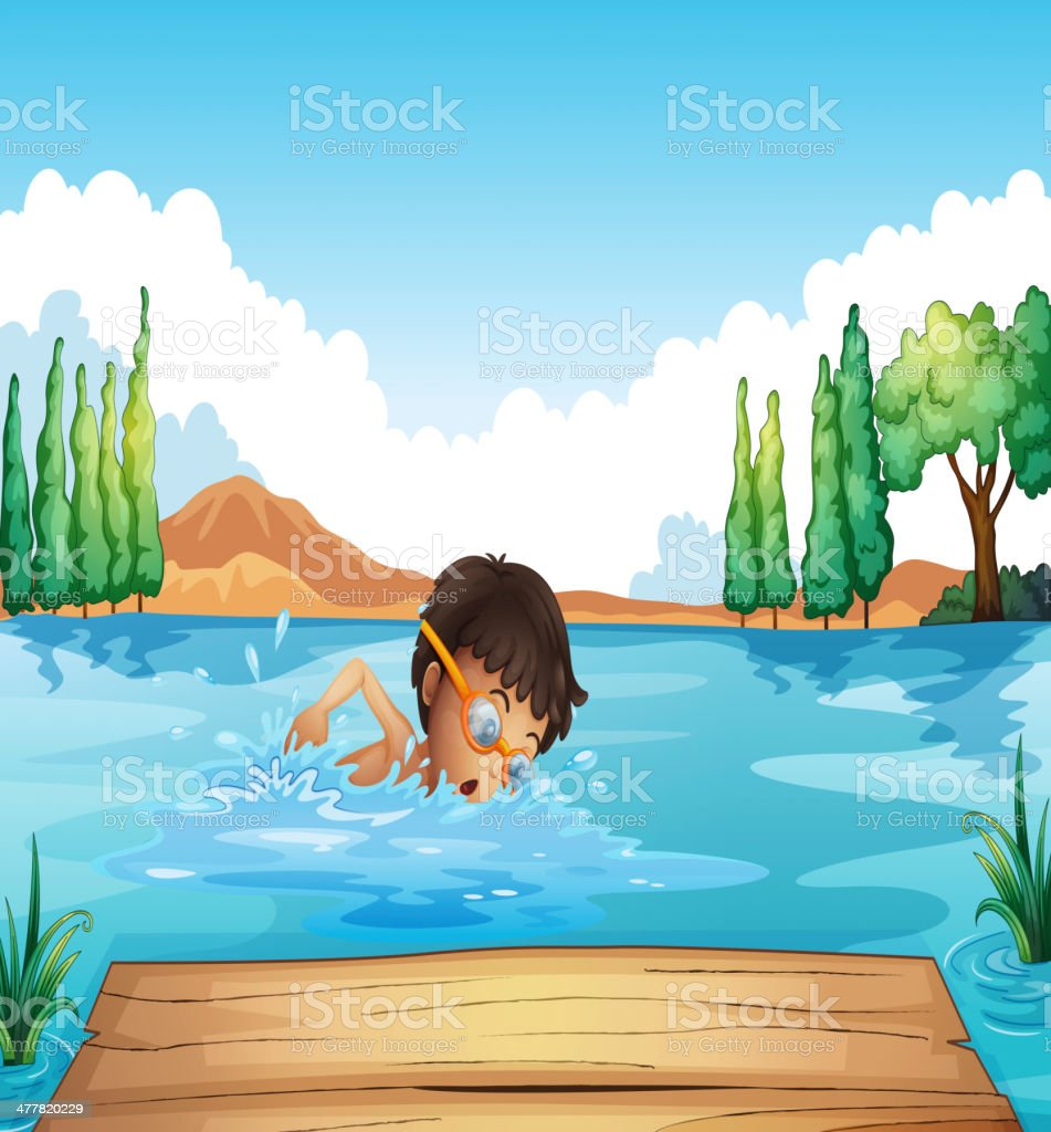 young man swimming in the river royalty-free stock vector art
