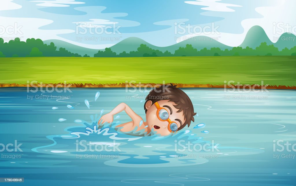 young man swimming royalty-free stock vector art