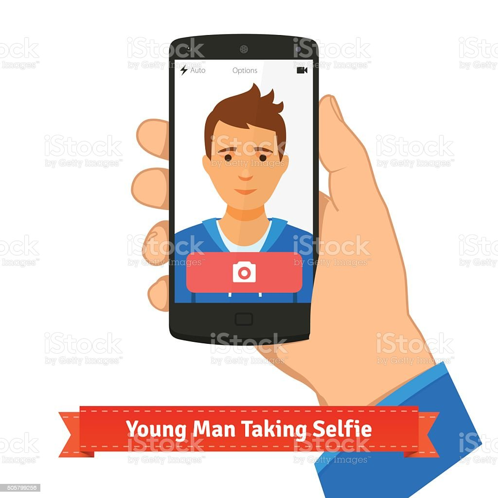Young man taking selfie photo picture vector art illustration