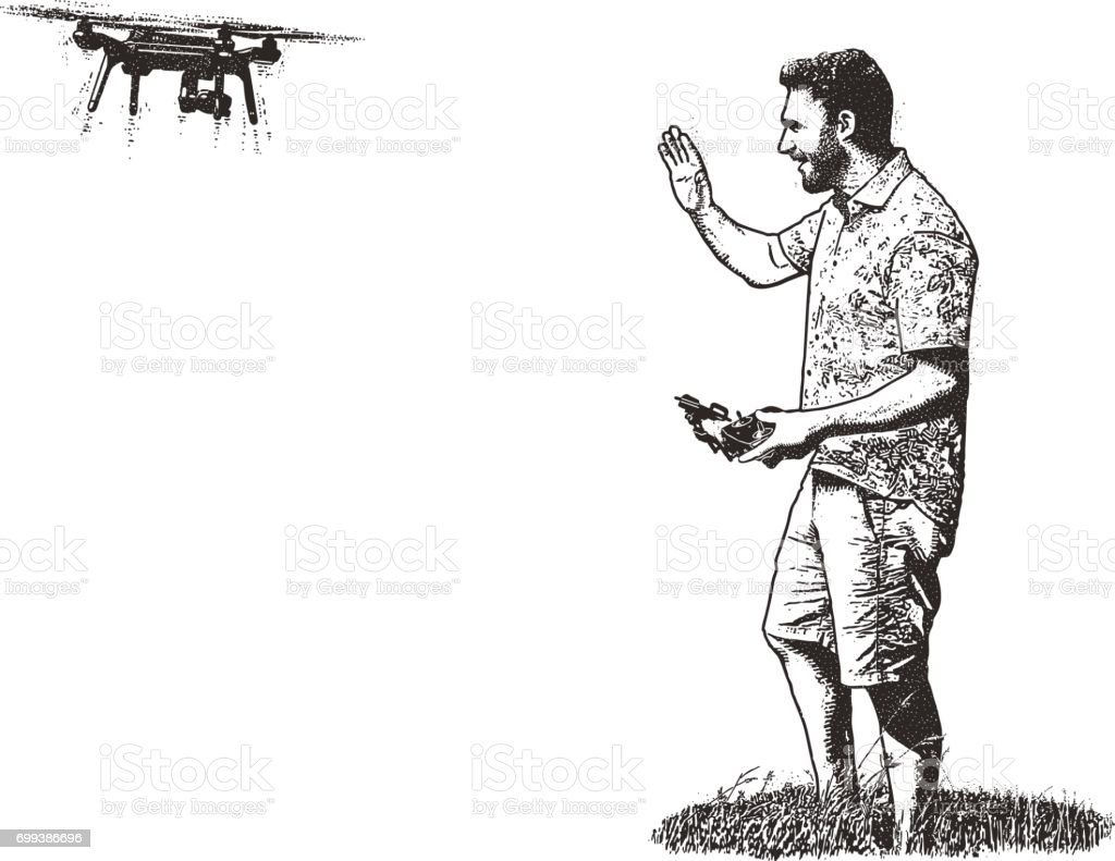 Young man taking selfie with flying drone vector art illustration