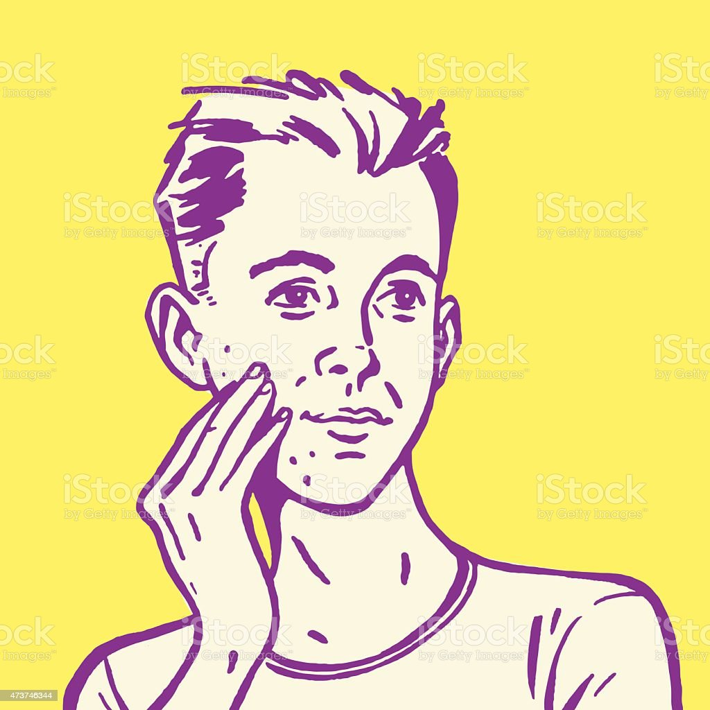 Young Man Touching His Face vector art illustration