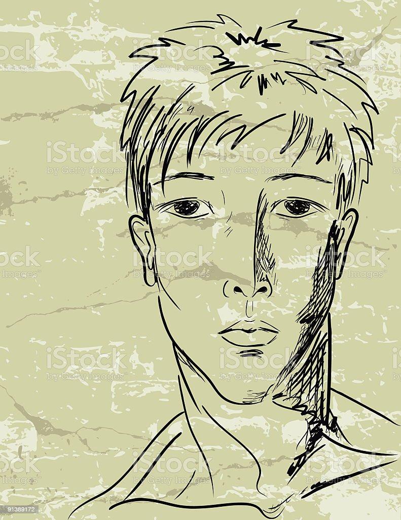 Young Man vector art illustration