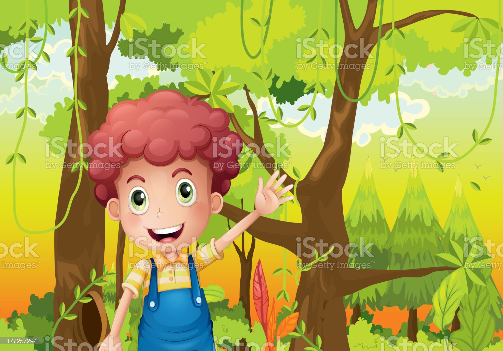 Young man waving his hand in the middle of forest royalty-free stock vector art