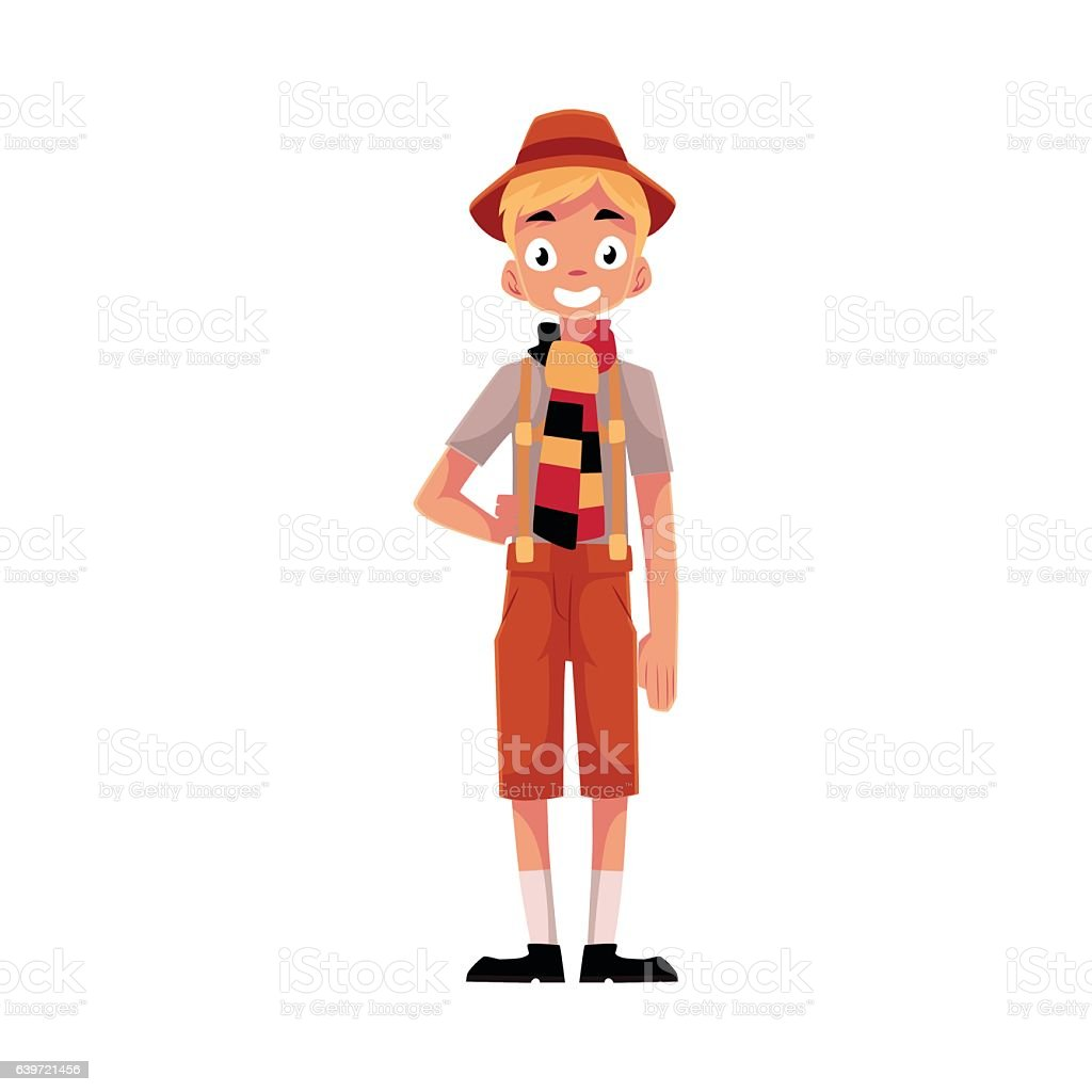 Young man wearing traditional German, Bavarian Oktoberfest costume vector art illustration