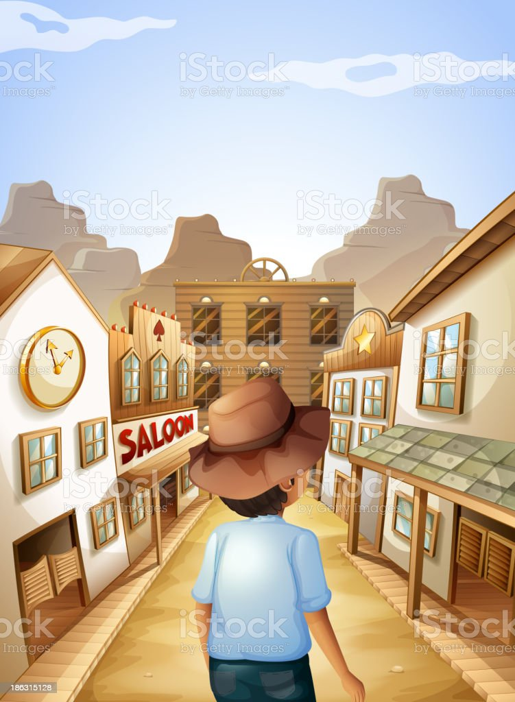 young man with a hat going to the saloon bar vector art illustration