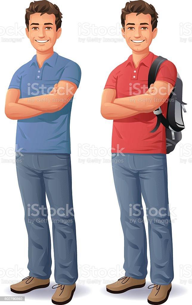 Young Man With Arms Crossed vector art illustration