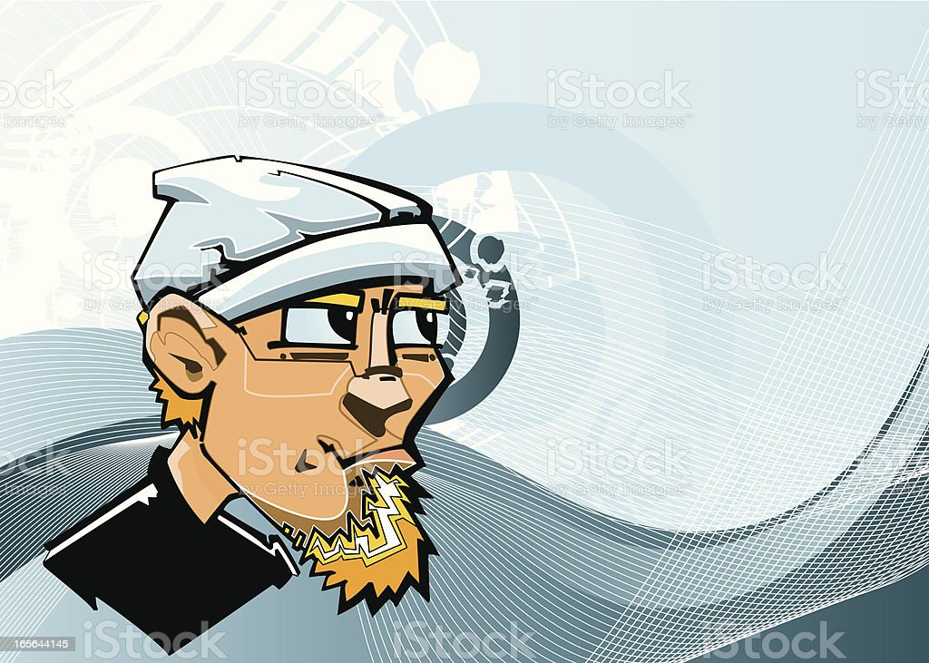 Young Man with Beanie and Goatee on a Grungy Background vector art illustration