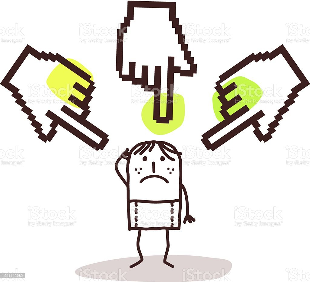 young man with big pointing cursor hands vector art illustration