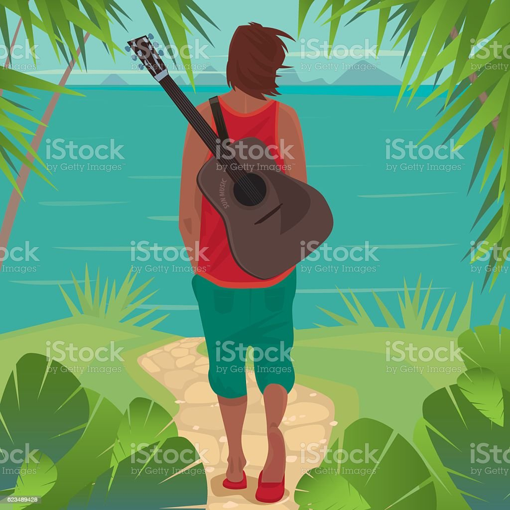 Young man with guitar on the island vector art illustration