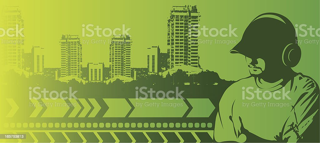 young man with headphones against urban scene royalty-free stock vector art