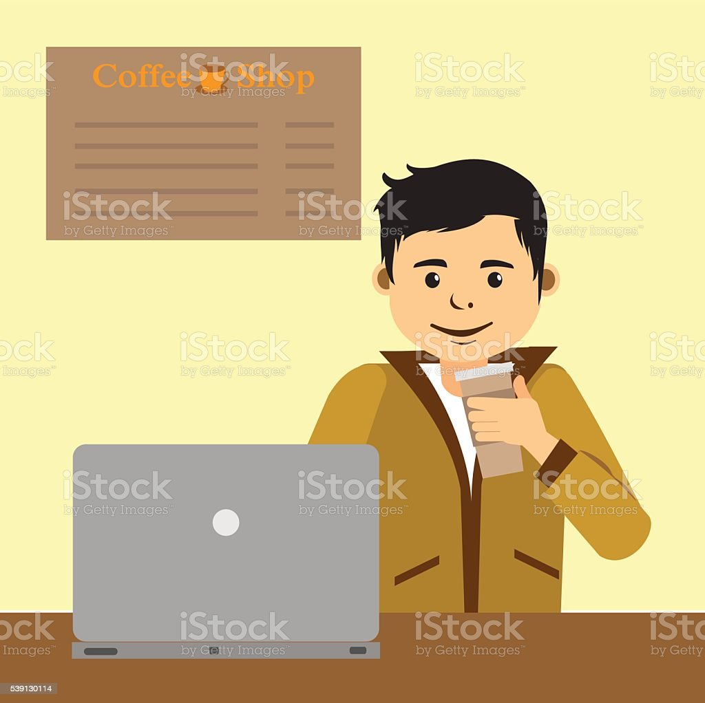 Young man work on computer inside a coffee shop vector art illustration