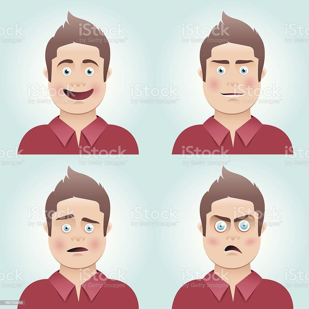 Young man's facial expressions vector art illustration