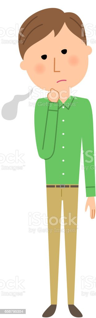 Young man,Sigh vector art illustration