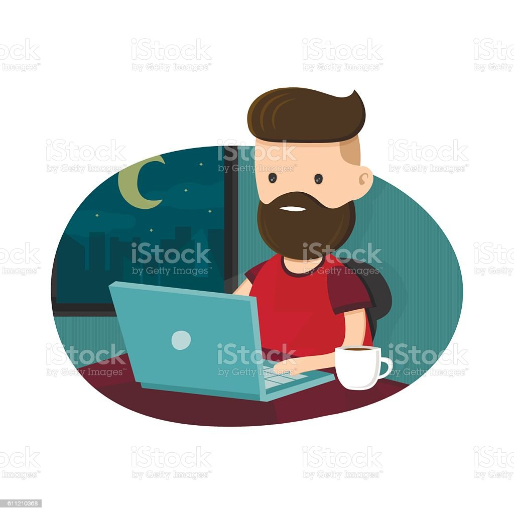 Young men hipster character sitting at a laptop vector art illustration