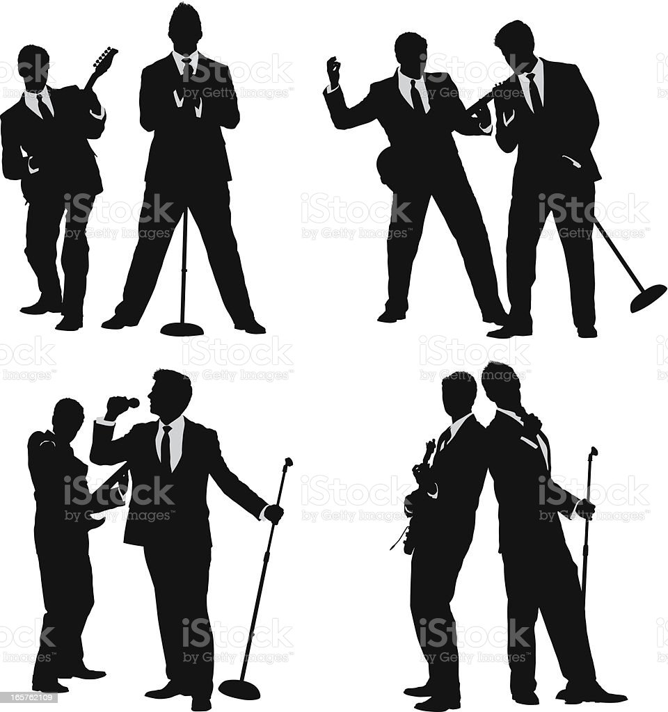 Young men in suits singing and playing guitar vector art illustration
