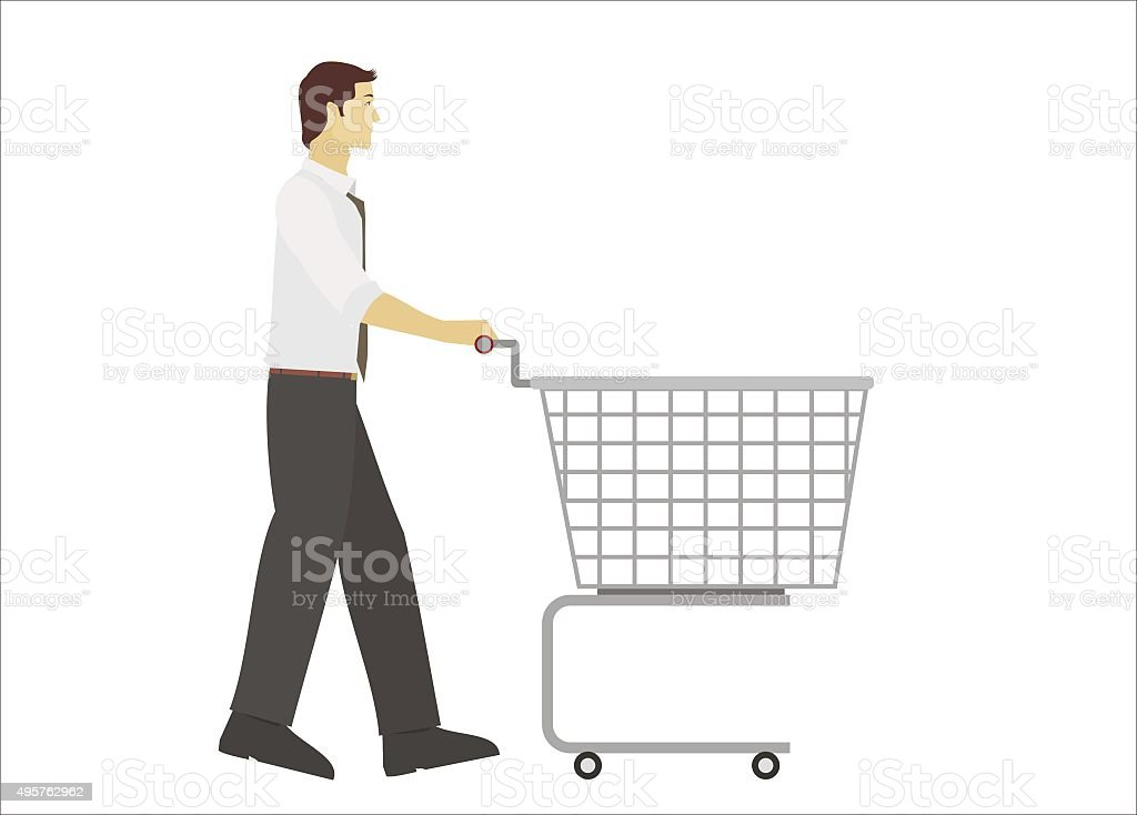 young men pushing trolley vector art illustration