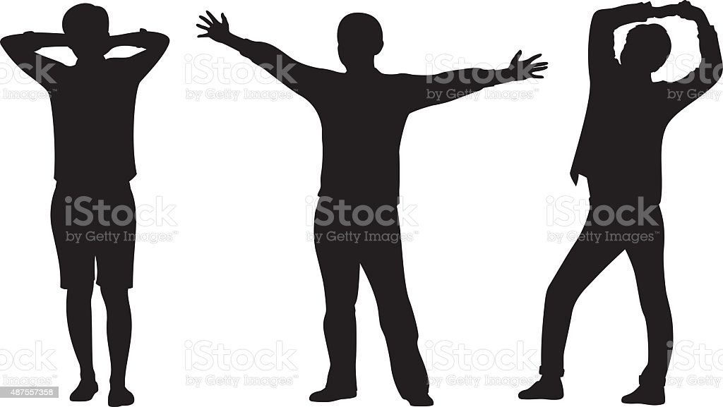 Young Men Stretching Arms Silhouettes vector art illustration