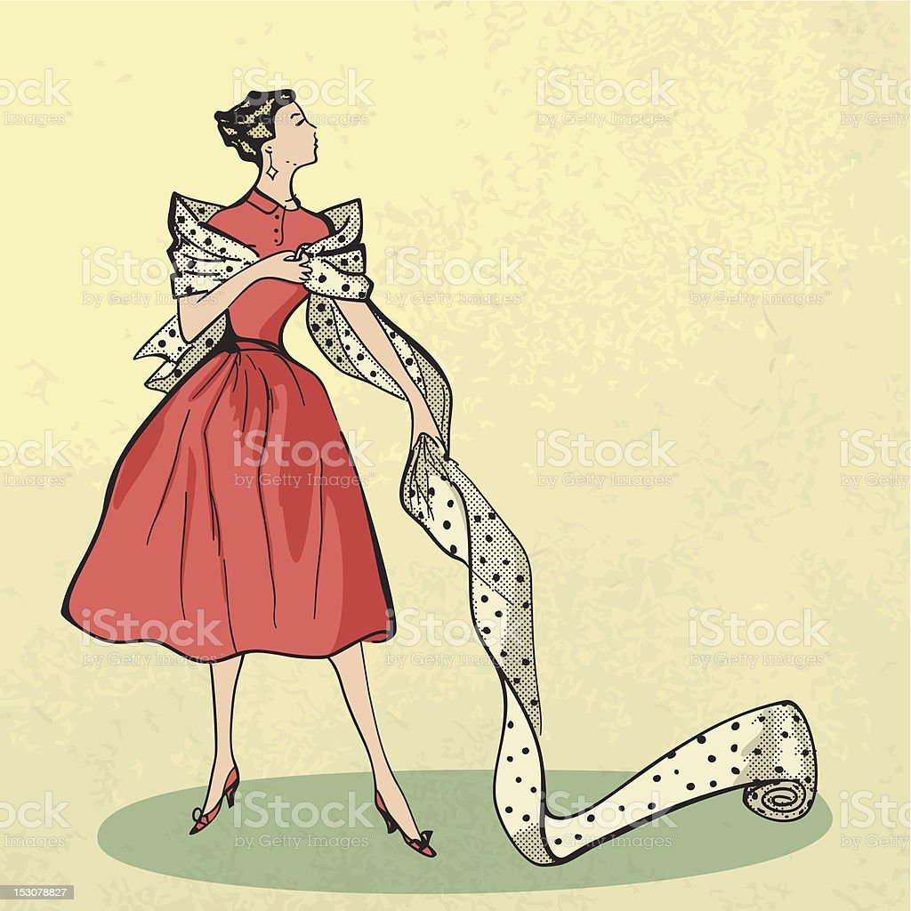 Young modish woman with bolt of fabric vector art illustration