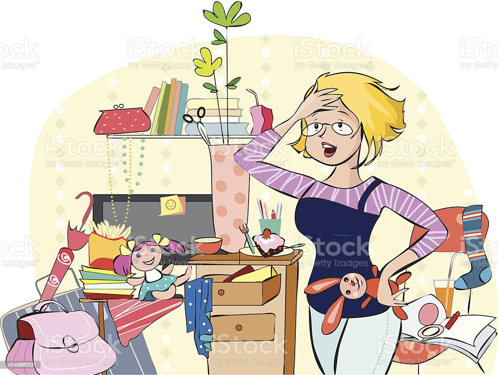 Young mother in a messy room vector art illustration