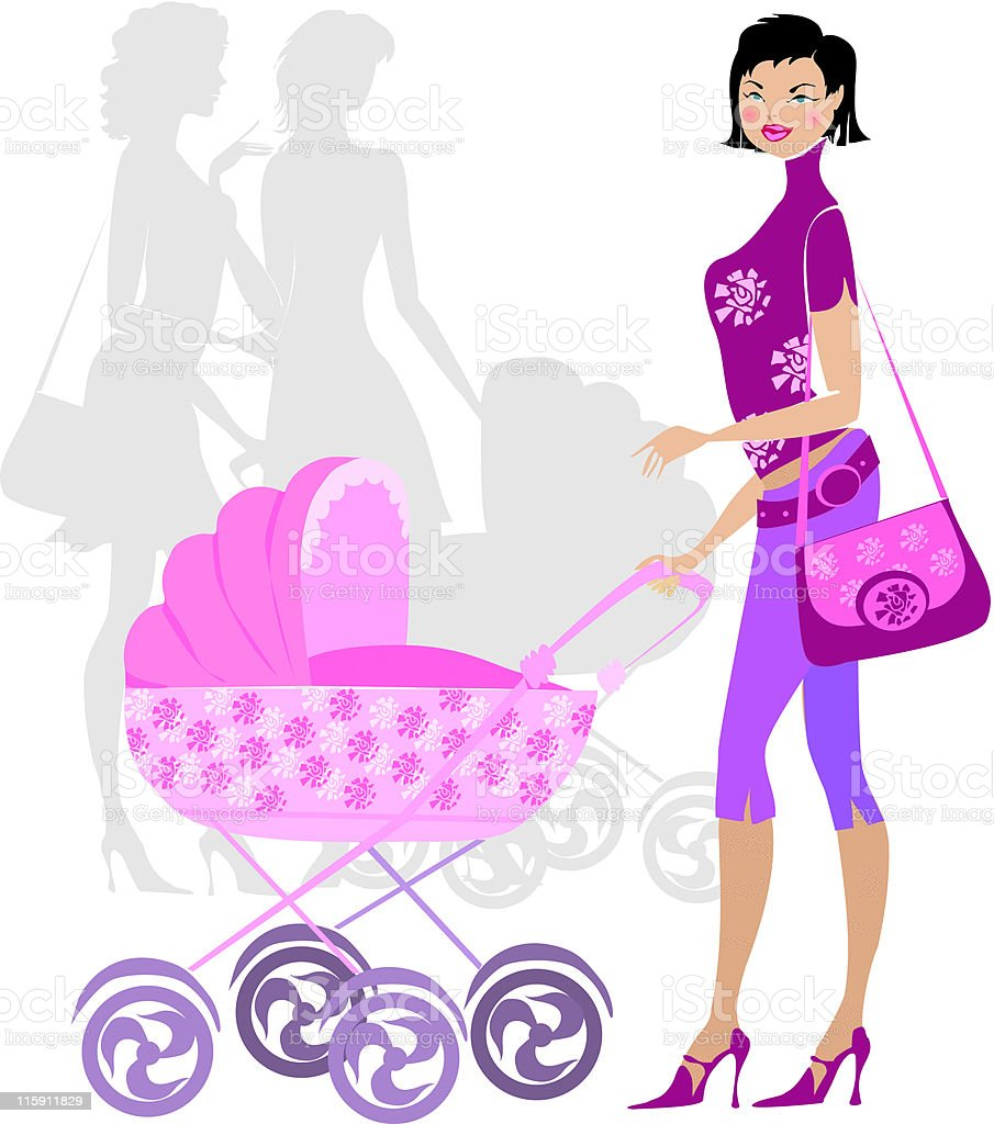 Young mother standing near pram vector art illustration