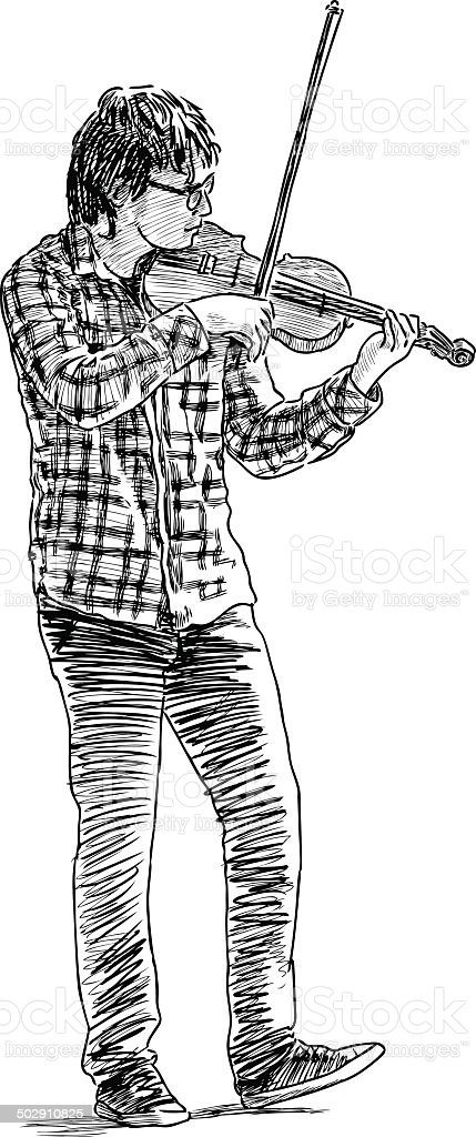 young musician vector art illustration
