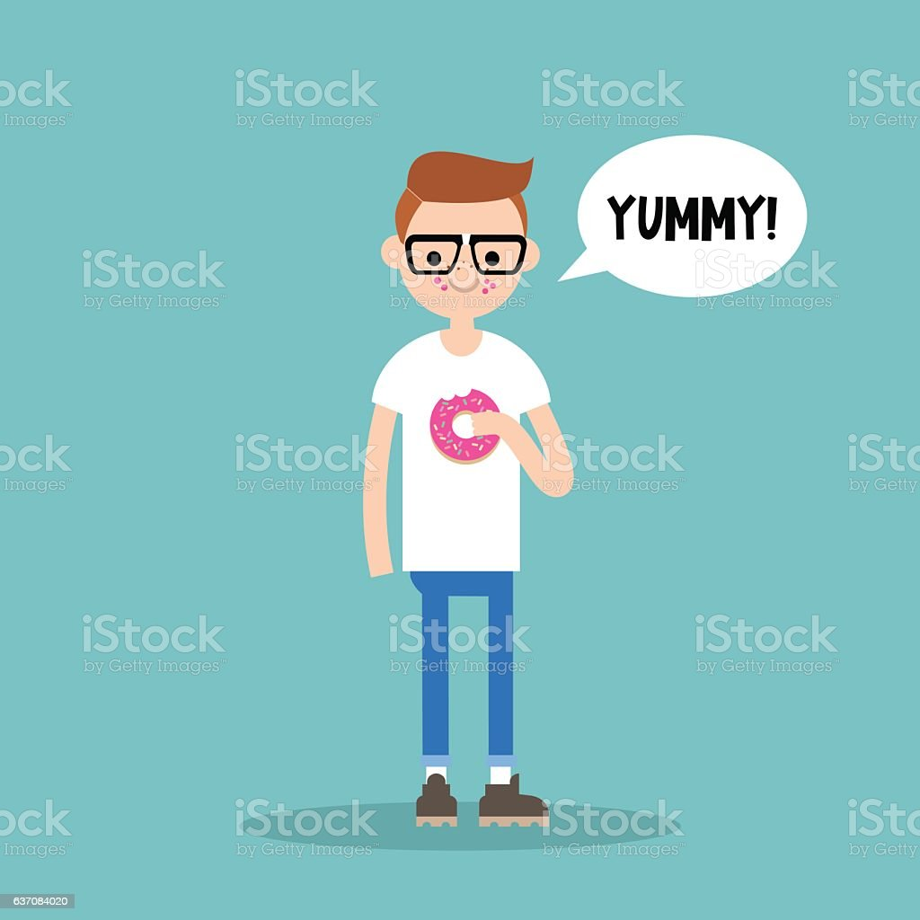 Young nerd chewing strawberry donut vector art illustration