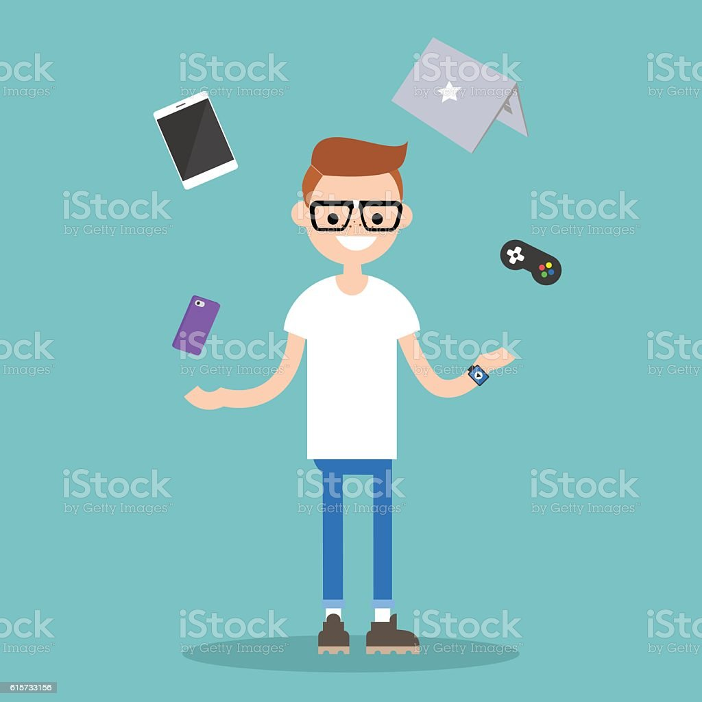 Young nerd juggling electronic devices vector art illustration