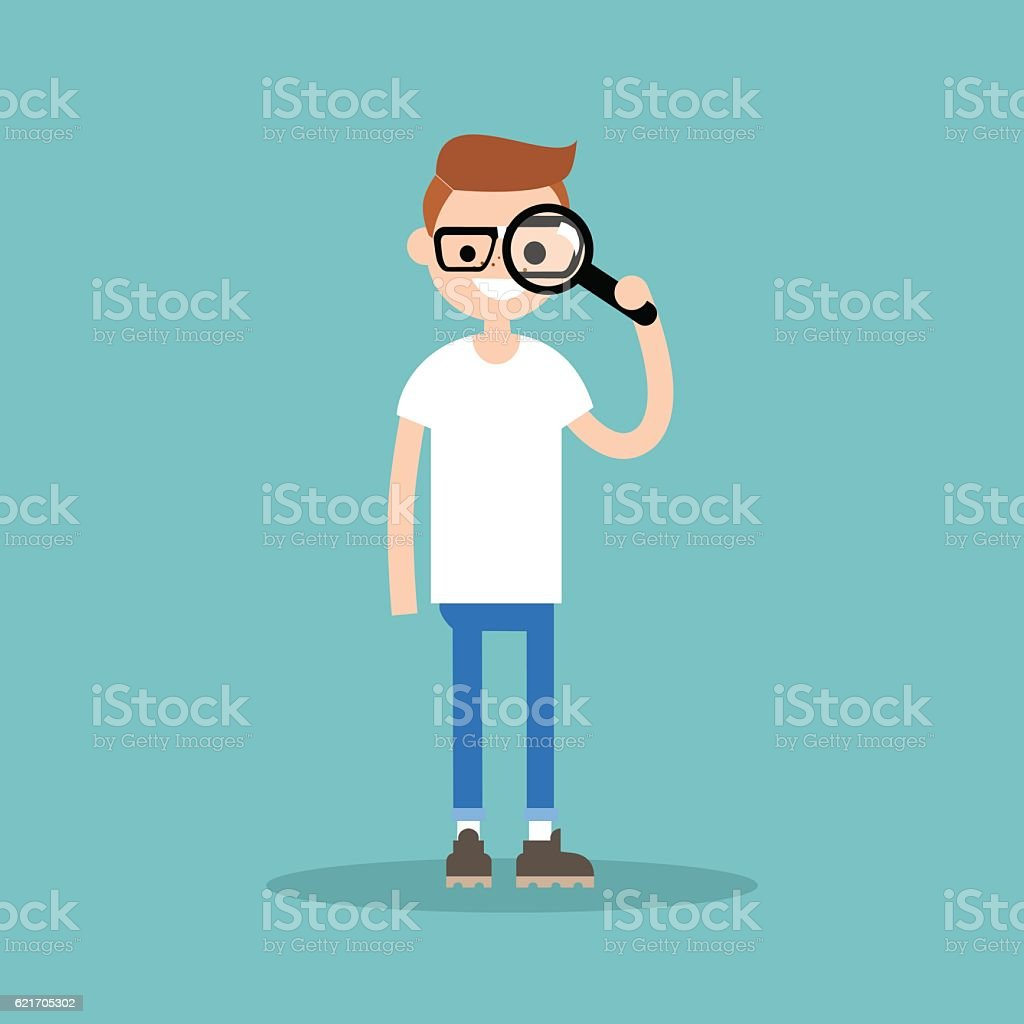 Young nerd looking through the magnifying glass vector art illustration