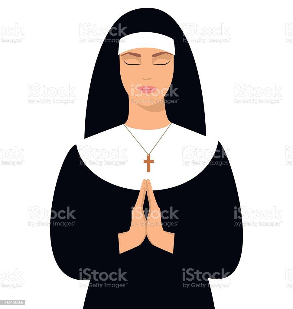 Young nun in prayer position. vector art illustration