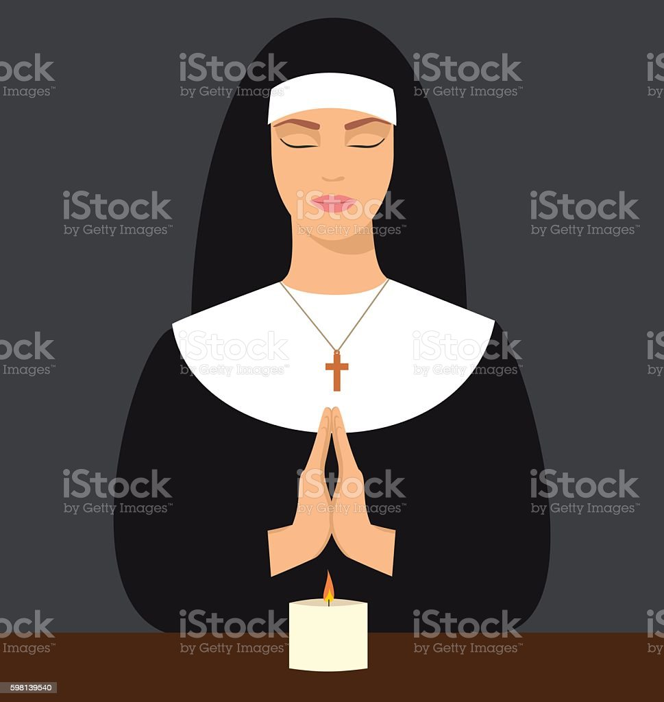young nun with eyes closed and hands folded in prayer vector art illustration