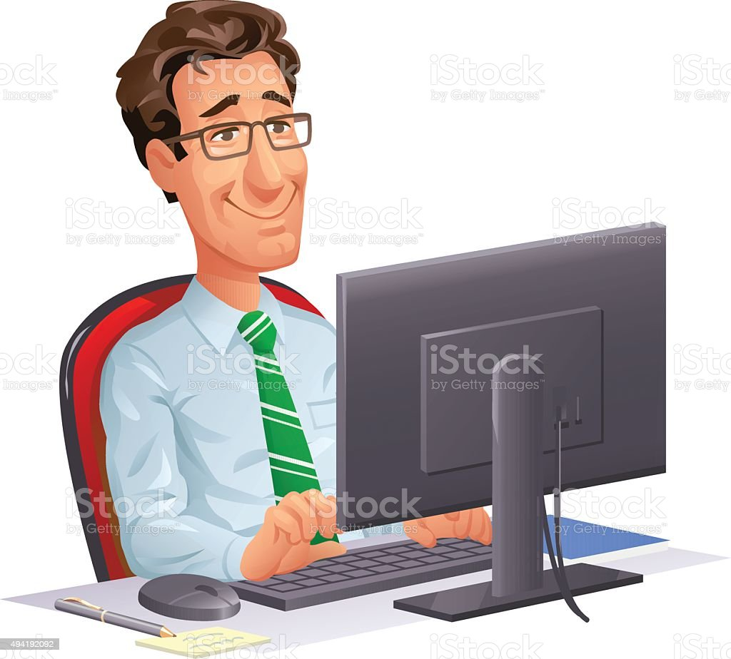 Young Office Worker At Computer vector art illustration
