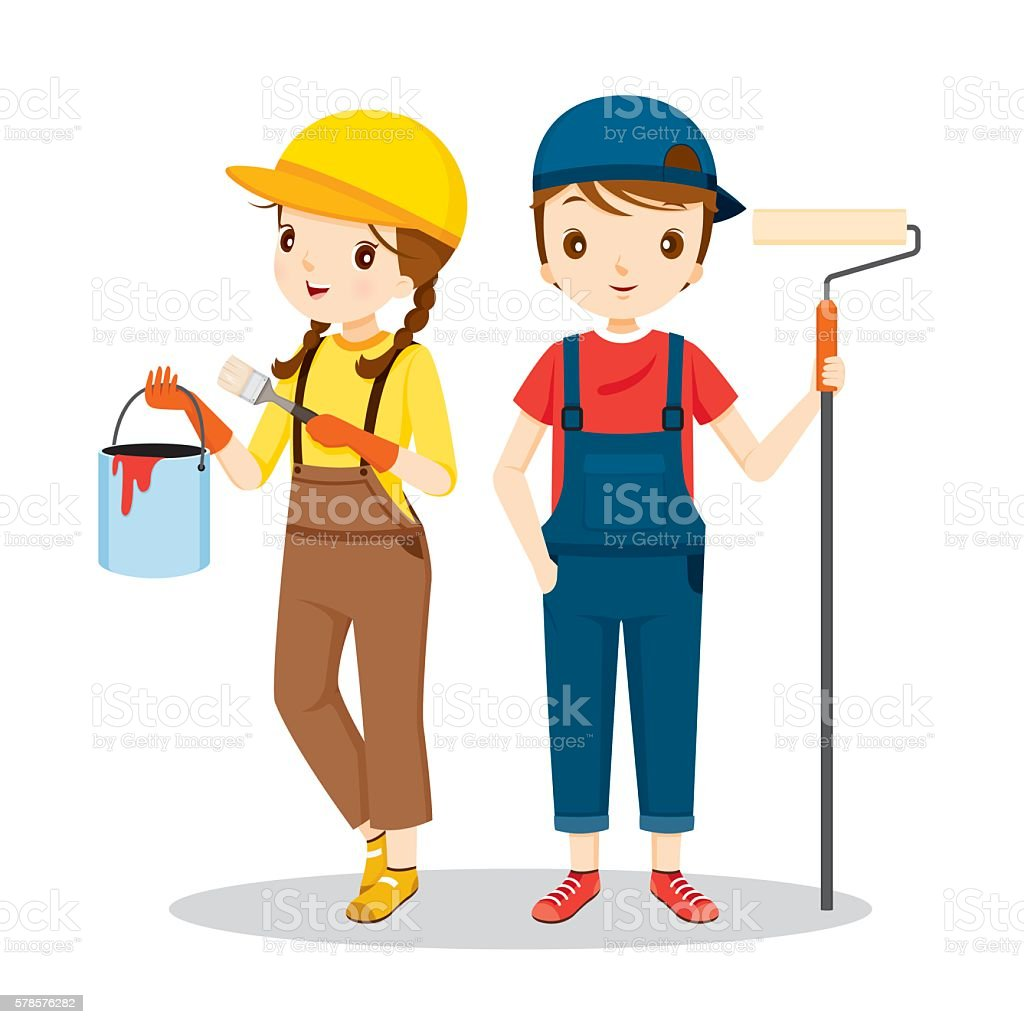 Young Painters With Tools, People Occupations vector art illustration