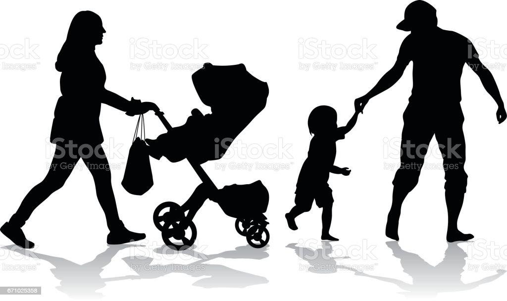Young Parents Stroller vector art illustration