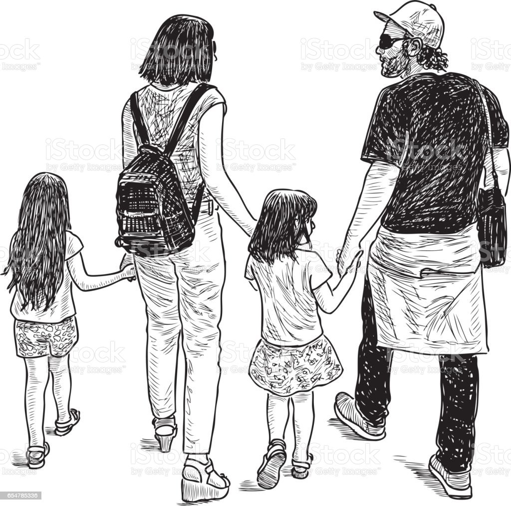 young parents with their kids on a walk vector art illustration