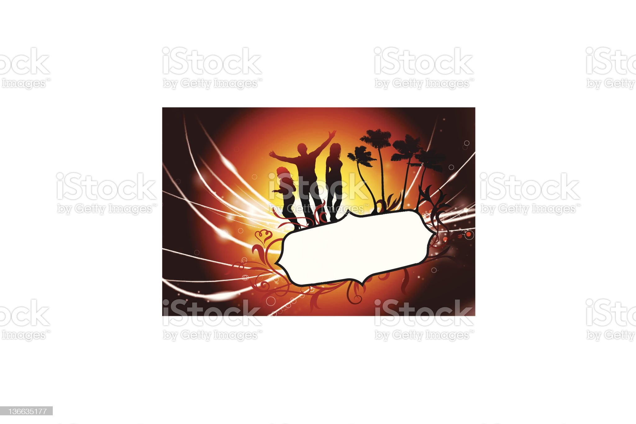 Young Party and Tropical Frame with Sunset Background royalty-free stock vector art