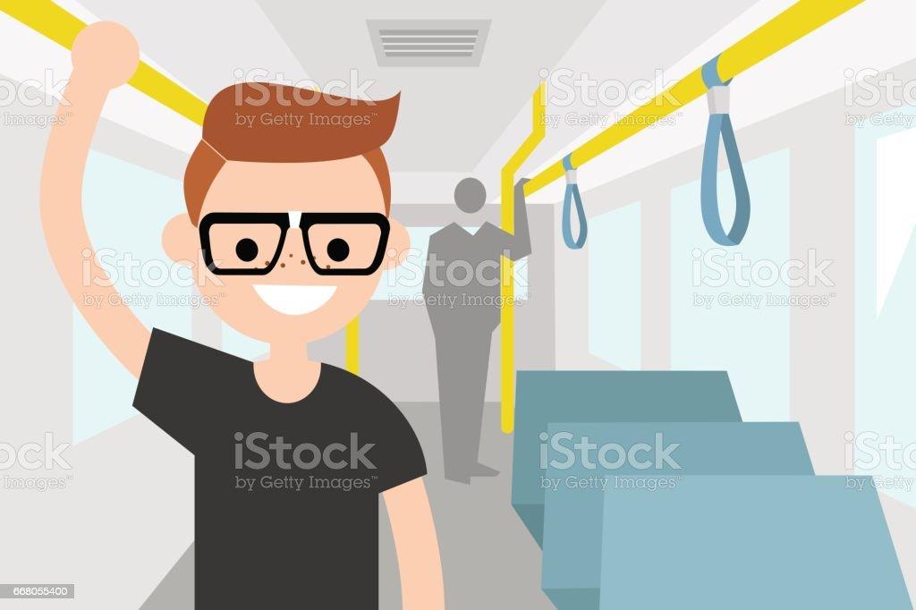 Young passenger riding by bus / flat editable vector illustration, clip art vector art illustration
