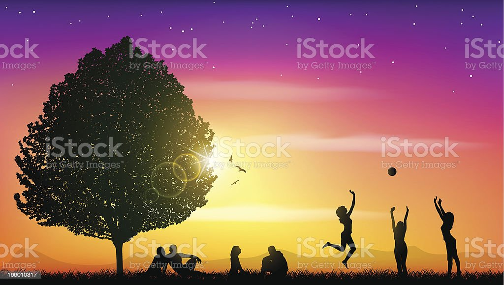 Young people enjoying in nature royalty-free stock vector art