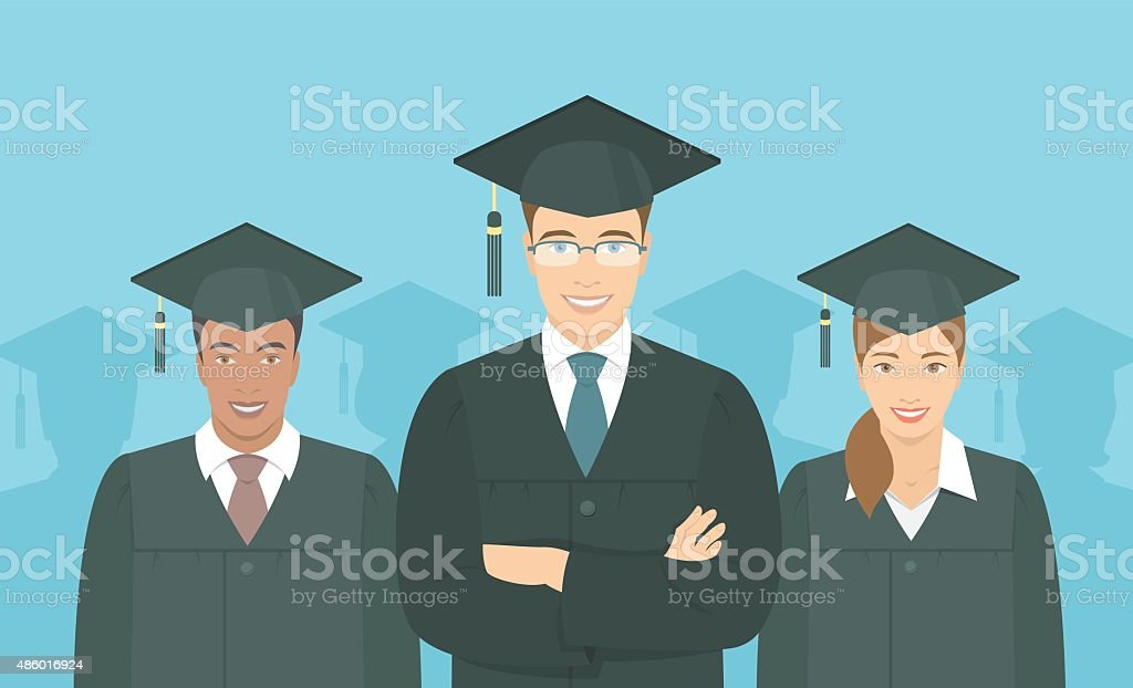 Young people graduate bachelor degree flat concept vector art illustration