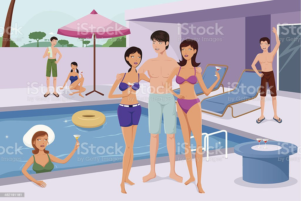 Young people having a pool party vector art illustration