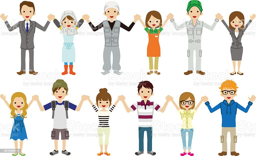 Young people Holding hands vector art illustration