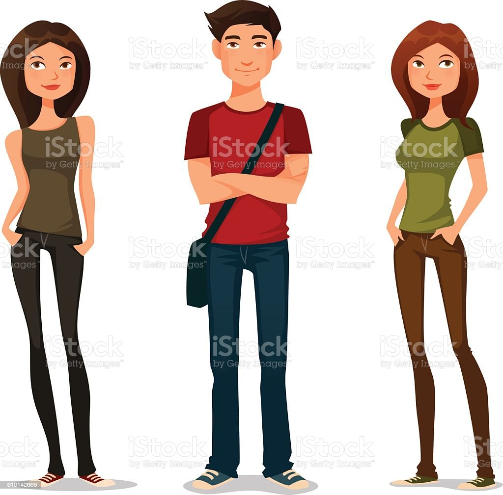 young people in casual fashion vector art illustration