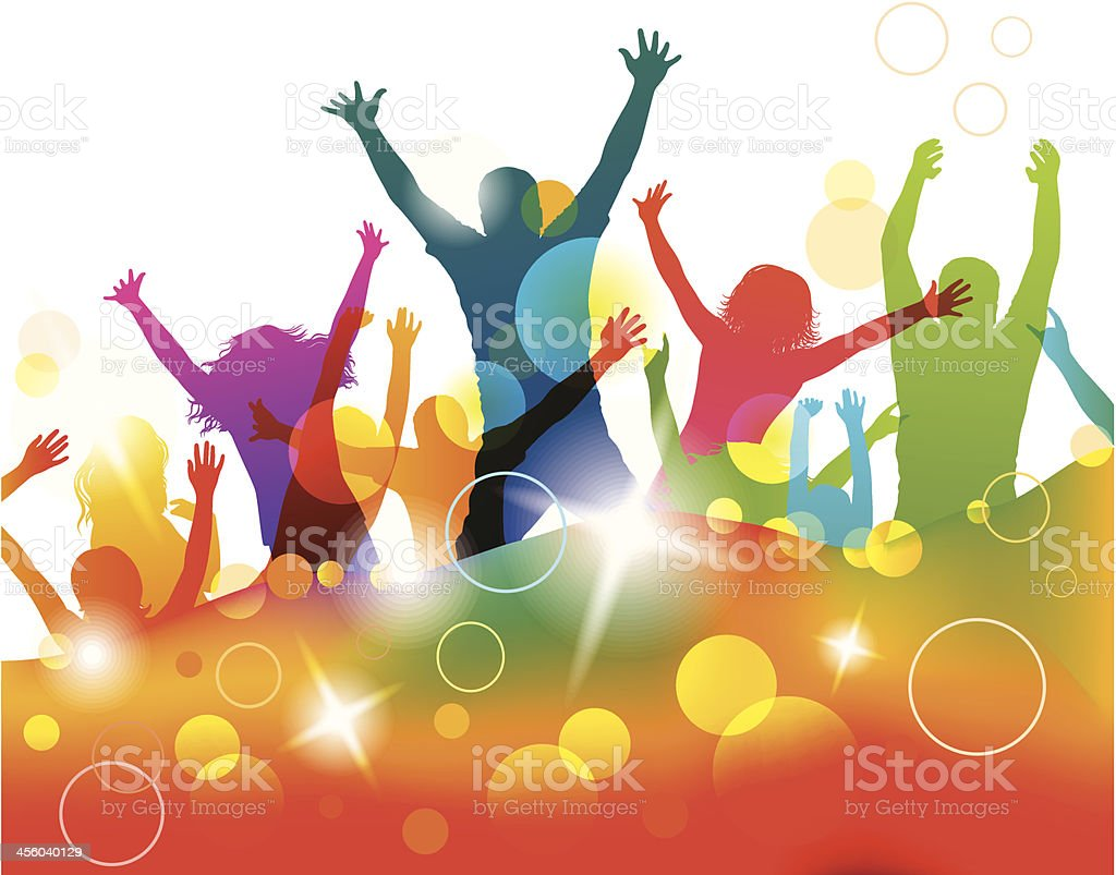 Young people on the party . vector art illustration