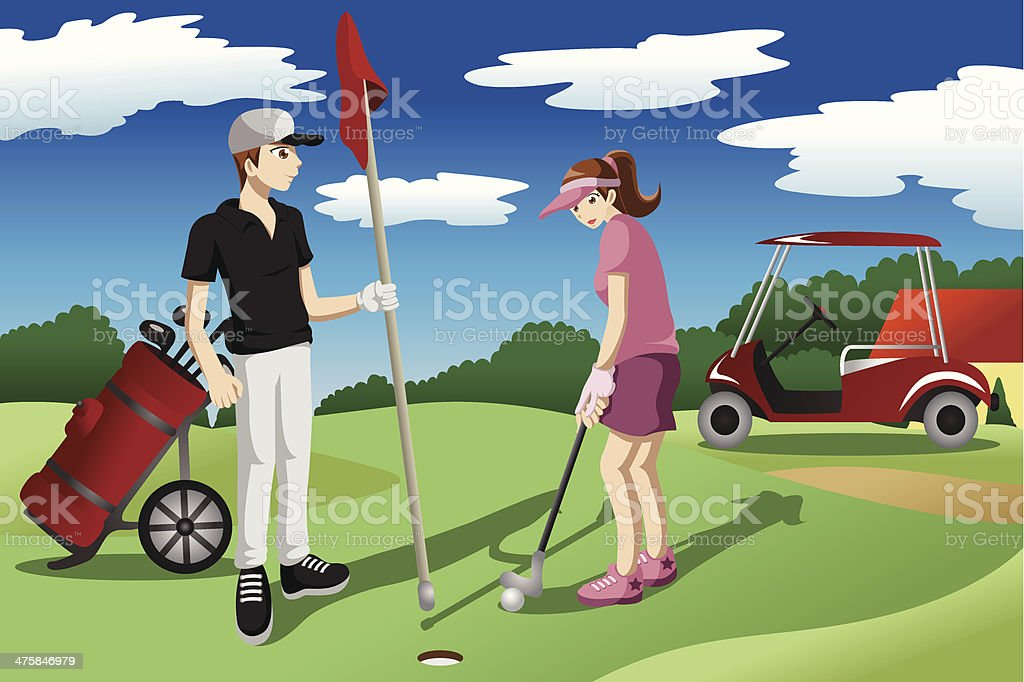 Young people playing golf royalty-free stock vector art